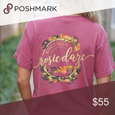 Rosie Daze Limited Edition Fall Logo Tee Brand new, still with tags. Completely sold out and won't be returning so now is your chance to snag one up! Closet Hangers, Fashion Design, Fashion Tips, Fashion Trends, Red And Pink, Short Sleeves, Brand New, Logo, Tees