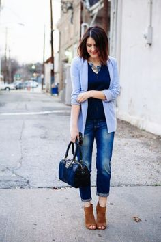 02 bleached jeans, a navy top, a serenity cardigan and brown booties (perfect for office) - Styleoholic