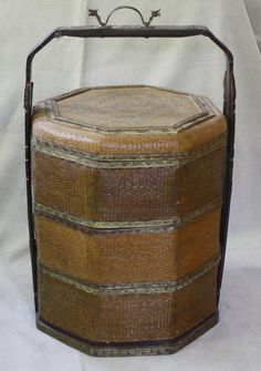 antique Chinese large woven 3 tiered wedding basket