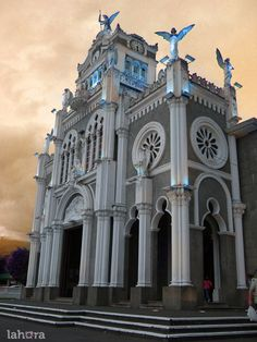 Basílica de Nuestra Señora de los Ángeles  Cartago, Costa Rica.  Since portions were destroyed by earthquakes since the early 1600s, the basilica is a unique mix of colonial architecture as well as 19th century Byzantine style.