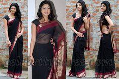 Praneetha in Black Chiffon Saree
