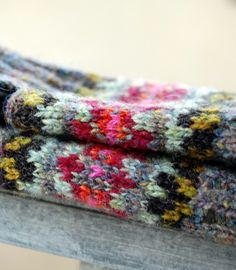 Fair Isle Mitts Scottish Tweed Wool