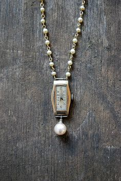 Vintage Jewelry Crafts Items similar to Redesigned ART DECO necklace / vintage watch necklace / faux pearl / Upcycled necklace on Etsy - Vintage Jewelry Crafts, Recycled Jewelry, Old Jewelry, Jewelry Art, Antique Jewelry, Beaded Jewelry, Jewelery, Handmade Jewelry, Jewelry Making