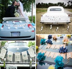 Pulluo Just Married Bunting Banner Garland Sticker /& Just Married Wedding Banners Bunting Photo Props Signs with Heart for Bridal Shower Wedding Honeymoon Car Decoration