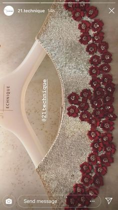 A sequins work of beige and maroon coloured ribbon embroidery. #embroidery #ribbon #sequins