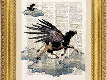 Mucca vola illustrazione,stampa,pagina dizionario