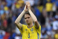 Sweden's midfielder Albin Ekdal reacts after the Euro 2016 group E football match between Italy and Sweden at the Stadium Municipal in Toulouse on June 17, 2016. .Italy won the match 1-0. / AFP / JONATHAN NACKSTRAND