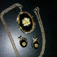 Vintage Gold Rose Pendant and Earrings Set Clip On Ear Rings.  Matching Necklace with 18 Inch Chain  Large Back resin base with Gold Trimmed Vintage Pendant  Vintage Necklace  Vintage Earrings  Absolutely Beautiful. Dovajean  Jewelry Necklaces