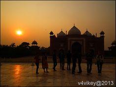 Tajmahal's Mosque at sunset time view