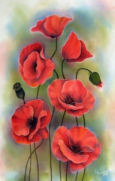beautiful watercolor painting of red poppies: