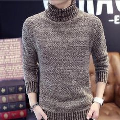 2f5ec8d108 Mens Winter Thick Warm Cashmere Sweaters Autumn Men Turtleneck Knitted Brand  Casual Sweaters Slim Fit Pullover