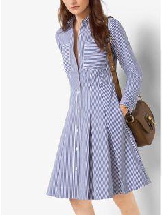 Striped Cotton-Poplin Shirtdress
