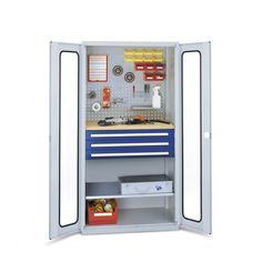 GTARDO.DE:  Schubladenschrank, Türen mit Sichtfenster, Werkbank, 3 Schubl. + 1 Fachboden, BxTxH 1000 x 600 x 1950 mm 1 352,00 €