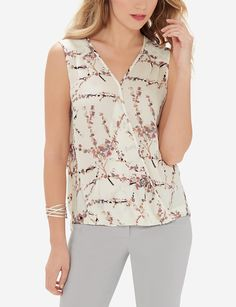 Printed Wrap Front Top   Sleeveless Wrap Front Top   THE LIMITED