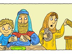 Free Visuals:  Elijah and the widow  Elijah, a widow and her son trust God to provide them with flour and oil. I Kings 17:8-24