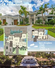 Architectural Designs House Plan 31835DN looks good from the ground. And from a drone. Shown built on a waterfront lot in Florida (interior photos online), it is ready when you are. Where do YOU want to build?