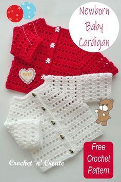 Crochet Baby Dress Free Pattern, Baby Sweater Patterns, Baby Girl Crochet, Newborn Crochet, Baby Patterns, Free Crochet, Crochet Patterns, Crochet Baby Sweaters, Crochet Baby Cardigan