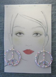 Extra Large Sterling Silver Peace Earrings - Swarovski Crystals  #6211o4