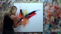 """Démonstration de peinture abstraite (7) Elisabeth - Toile """"Vibration"""""""