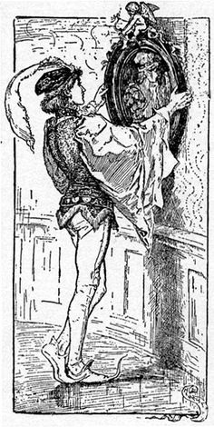 Prince Saphir looks in the Magic Mirror - The Yellow Fairy Book by Andrew Lang, 1894
