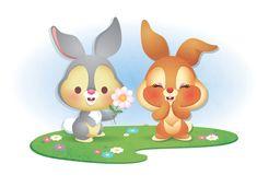 https://flic.kr/p/b4WfdM | Kawaii Thumper and Miss Bunny | Kawaii version of Thumper and his friend.