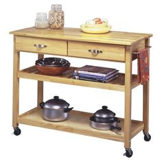 Rolling hardwood kitchen cart with 2 drawers and 2 open shelves.         Product: Kitchen cartConstruction Material:
