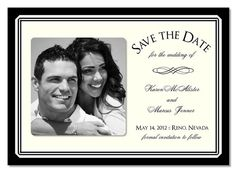 black and white save the dates
