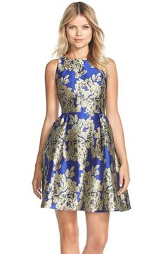 Free shipping and returns on Adrianna Papell Metallic Jacquard Fit & Flare Dress at Nordstrom.com. Superbly tailored jacquard shimmers as metallic details illuminate oversized blooms on this elegant party dress.
