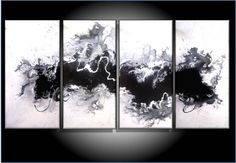 $399 Huge 4 Piece Panel Giclee Print on Stretched Canvas of Original Painting by RenaeSchoeffelArt