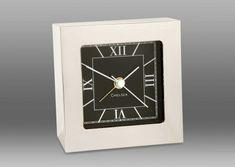 Square Desk Alarm Clock in Nickel | Chelsea Clock Company