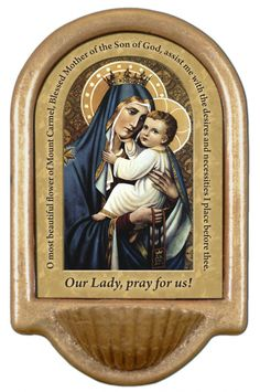 Our Lady of Mt. Carmel Prayer Holy Water Font Click picture to see on #catholictothemax