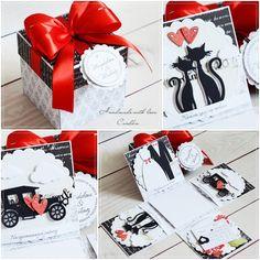 Cardka: Exploding box ślubny- black-red-white