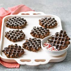 We cannot wait for Christmas baking so we can try recipes like this amazing Chocolate-Pepperment Waffle Cookies: http://www.bhg.com/christmas/baking/easy-holiday-baking/?socsrc=bhgpin091514chocolatepeppermintwafflecookies&page=1