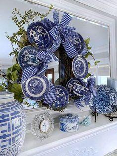 """No Glue"" Vintage Plate Wreath Tutorial – The Little Jewel Box Blue Christmas Decor, Gold Christmas Decorations, Holiday Decor, Holiday Wreaths, Winter Wreaths, Wreath Fall, Prim Christmas, Spring Wreaths, Summer Wreath"