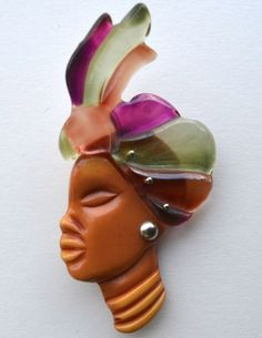 Vintage Bakelite Tribal Lady Face Carved Brooch Pin African Figural Beautiful
