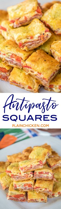 Antipasto Squares recipe - SO GOOD! Crescent rolls stuffed with ham salami pepperoni provolone swiss and roasted red peppers. then topped with a parmesan cheese egg and pesto mixture and baked. These things are ridiculously good! Finger Food Appetizers, Yummy Appetizers, Finger Foods, Appetizer Recipes, Party Appetizers, Party Snacks, Antipasto, Crescent Roll Recipes, Crescent Rolls