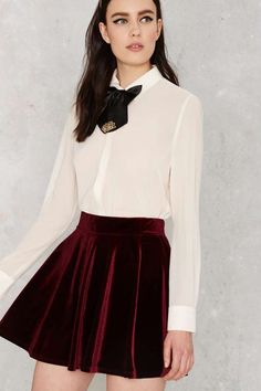 f34467e8a3 Nasty Gal Serial Skater Velvet Skirt - Clothes | Party Shop | Flared |  Skirts