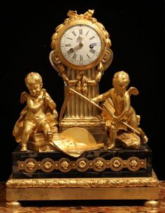 Louis XVI Gilt Bronze And Portor Marble Clock Commemorating The Lunar Eclipse Of 1764 With Movement By Lepaute -  France   c.18th Century  (Louis XVI Period)
