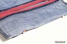 Hääräämö: Farkkupenaalista kolme versiota + ohje Pencil Case Tutorial, Pencil Cases, Fanny Pack, Jeans, Denim, Sewing, Fashion, Tejidos, Cowboys