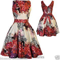 RKL2 Lady Vintage Hepburn Red Rose Floral Tea Dress 50s Swing Retro Rockabilly