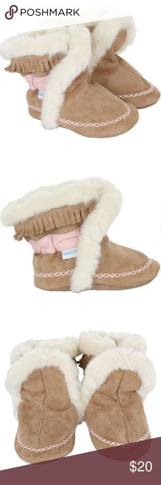 Soft Sole Boots Brrr . . .A chill is in the air. These faux fur lined suede booties will keep your little girl warm all winter long. Like all Robeez Soft Soles, this footwear features a non-slip suede outsole, which protects your child from slipping, and an elasticized ankle band which will keep this shoe securely on your baby's foot. If your child can't go barefoot, choose Robeez. Robeez Shoes Baby & Walker