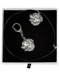 NEW, Bernese Mountain Dog, dog keyring and necklace in casket, ELEGANCE set, limited edition, ArtDog *** You can get more details by clicking on the image.