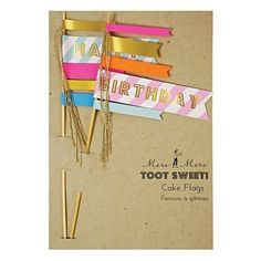 Buy Meri Meri Toot Sweet Happy Birthday Flag Cake Toppers, Set of 2 from our Cake Decorating range at John Lewis & Partners. Happy Birthday Kuchen, Happy Birthday Cake Topper, Birthday Pancakes, Decorating Tools, Cake Decorating, Bolo Diy, Birthday Flags, Flag Cake, Cake Accessories