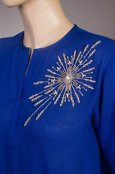 Discover thousands of images about Daaman Embroidery On Kurtis, Hand Embroidery Dress, Kurti Embroidery Design, Embroidery Neck Designs, Hand Embroidery Videos, Bead Embroidery Patterns, Embroidery On Clothes, Couture Embroidery, Bead Embroidery Jewelry