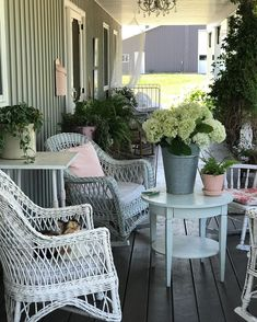 "Tracey Hiebert's Instagram post: ""I picked my first bucket of hydrangeas!🙌🏻 I have a new blog post up about my summer porch...would love for you to check it out! (Link in…"""