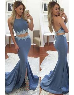Chic Modern Sexy Two Piece Jewel Neck Long Jersey Prom Dress