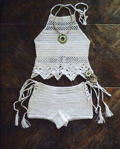 Summer beach suit. Beach top and short shorts. Crocheted from 100% cotton.  Hand wash only! Size S/M & M/L.