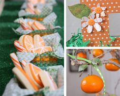 """This is one of the most adorable themes I've seen! Orange theme baby shower for a """"little cutie"""" 