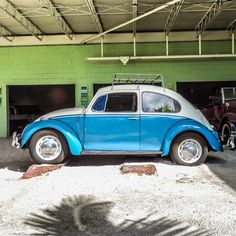 Two-tone Beetle #vw #volkswagen #beetle #fusca #fuscaazul #germancar #vdub #vwbeetle #grille #oldtimer #vintage #morninautos #soloparking #chivera (at South Beach Classics)