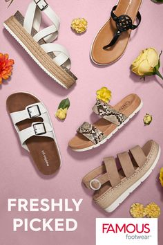 There's a bunch of sweet sandals you're sure to love. Featuring trends like animal print, white sole sandals and more. At Famous Footwear. Cute Sandals, Cute Shoes, Me Too Shoes, Sock Shoes, Shoe Boots, Shoes Heels, Giuseppe Zanotti Heels, Cute Comfy Outfits, School Shoes